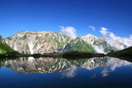 Happo-ike pond and Mt Shiroumadake in Nagano Japan photo