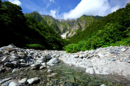 Mt  Tanigawadake and snowy valley in Gunma, Japan photo