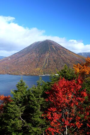 Mt  Nantai and Lake Chuzenji in autumn, Nikko, Japan  photo