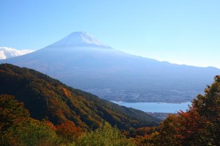View of Mt  Fuji with Lake Kawaguchi in autumn, Yamanashi, Japan photo
