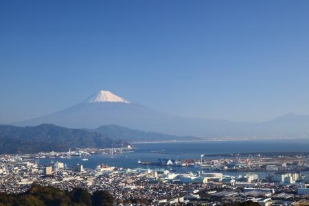 Mt  Fuji and Shimizu Port, Shizuoka, Japan 版權商用圖片