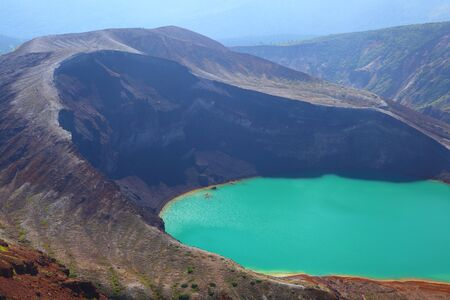 crater lake: Mt  Zao and crater lake, Miyagi, Japan