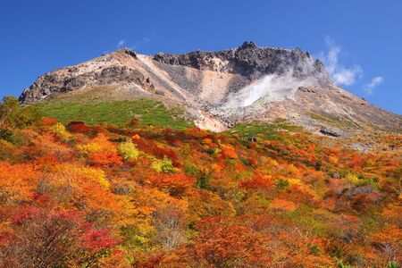 Mt  Nasudake of autumn leaves, Tochigi, Japan photo