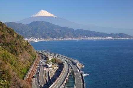 mt fuji: Mt  Fuji and Tomei Expressway, Shizuoka, Japan Stock Photo