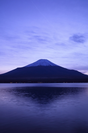 japan sky: Mt  Fuji and Lake Yamanaka at twilight, Yamanashi, Japan Stock Photo