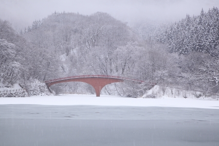 ice dam: Frozen Lake Usui and bridge in winter, Gunma, Japan Stock Photo