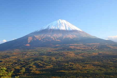 View of Mt  Fuji with Aokigahara forest in autumn, Yamanashi, Japan photo
