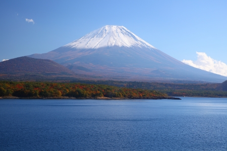 Mt  Fuji and Lake Motosu in autumn, Yamanashi, Japan photo