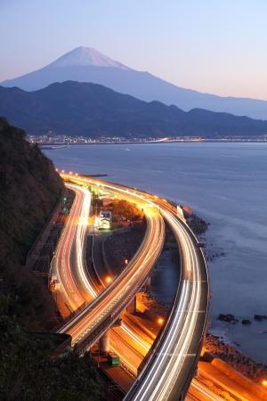 express lane: Night view of Mt  Fuji and Tomei Expressway, Shizuoka, Japan