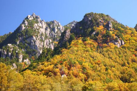 crag: Autumn crag mountain, Mt  Mizugaki, Yamanashi, Japan Stock Photo