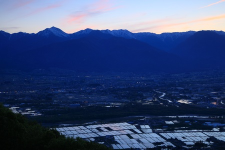 Twilight flooded rice field in Azumino city, Nagano, Japan  photo