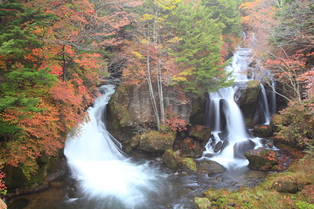 Ryuzu Waterfall of autumn in Nikko, Tochigi, Japan photo