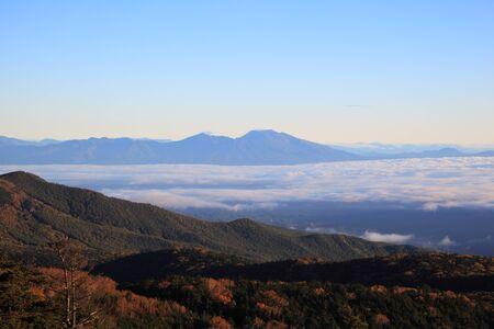 Misty Mountain at morning, Mt. Asama, Nagano, Japan Stock Photo - 23219986
