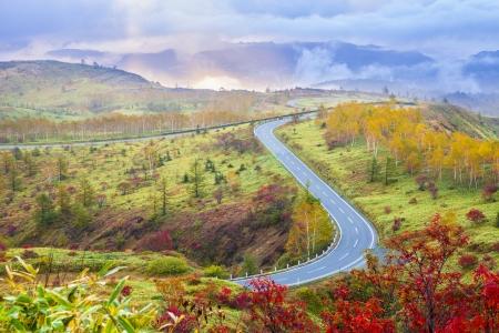 colours tints: Shiga Kusatsu road in Autumn, Gunma, Japan