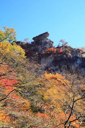 crag: Autumn colours of Mt  Myogi, Cannon stone, Gunma, Japan