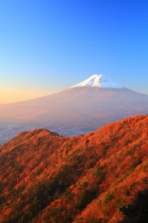 Mt  Fuji glows in the morning sun, Yamanashi, Japan photo