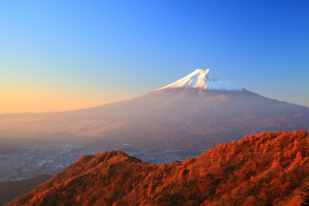 Mt  Fuji glows in the morning sun, Yamanashi, Japan photo