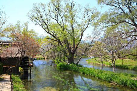 watermill: Water mill and river, Azumino, Nagano, Japan