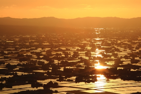 hokuriku: Sunset at flooded rice field, Sankyoson, Toyama, Japan Stock Photo
