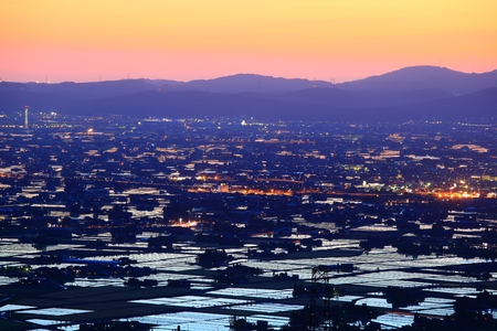 hokuriku: Paddy field at twilight, Nanto city, Toyama, Japan