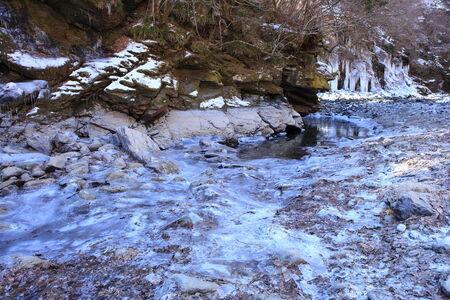 sopel lodu: Icicle of Misotsuchi, Chichibu, Saitama, Japan Zdjęcie Seryjne