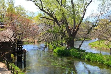 molino de agua: Molino de agua y el r�o, Azumino, Nagano, Jap�n Foto de archivo