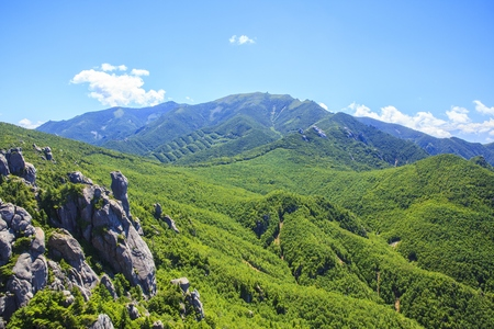crag: Crag Mountain seen from Mt. Mizugaki, Japanese Mountain Stock Photo