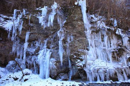 icefall: Icicle of Misotsuchi, Chichibu, Saitama, Japan Stock Photo