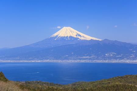 the world cultural heritage: Mt. Fuji and Suruga bay from Darumayama plateau, Izu Peninsula, Japan