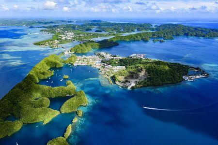 seventy: Full view of Palau Malakal Island and Koror - World heritage site - Stock Photo
