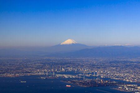 Yokohama city area and Mt. Fuji - Japanese landscape - Stock Photo