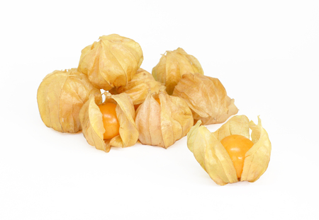 Cape gooseberry Physalis healthy fruit and vegetable, On white background and Clipping Path Imagens