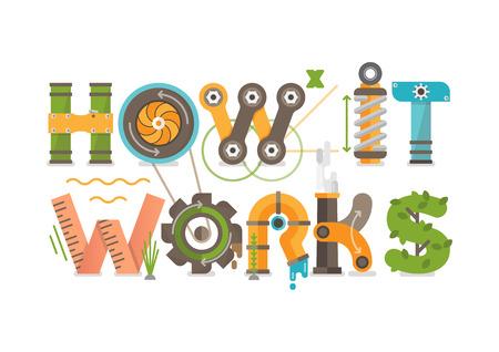Konzeptionell wie es funktioniert, illustriert Buchstaben Tittle. Abbildung besteht aus Zahnrädern, Federn, Rohren, Turbinen, Pflanzen, Schrauben, Bolzen und anderen mechanischen Elementen.