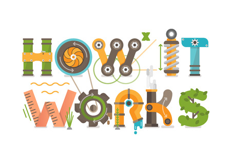Conceptual How it Works Illustrated Letters Tittle.  Illustration Consists of Gears, Springs, Pipes, Turbine, Plants, Screws, Bolts and Other Mechanical Elements.