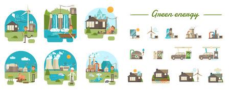 Voornaamste groene energietypes. 6 vlakke stijl geïllustreerde scènes met jongenskarakter + 13 geïllustreerde pictogrammen.
