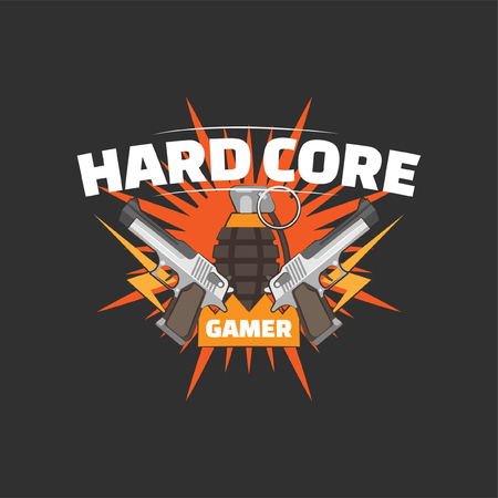 Hard core gamer logo with two guns and a hand grenade. Gaming profile avatar. Illustration