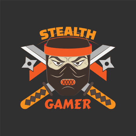 silent: Stealth gamer logo with ninja and swords and ninja asterisks.  Gaming profile avatar.