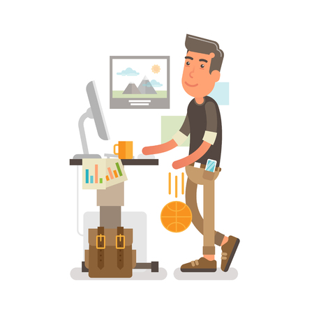 guy standing: Generation Y, Millennial Flat vector illustration showing a guy at a standing desk with a cup of coffee on it while working and dribbling a ball along that.