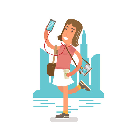Generation Y Millennial  Flat vector illustration showing girl with a phone in a hand, listening music in earphones, photo camera on a shoulder and holding a cup of coffee. City scene in a background.