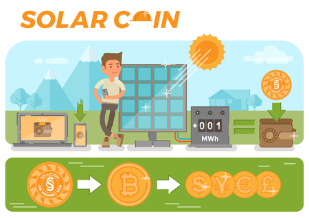 Scene with simple solar coin
