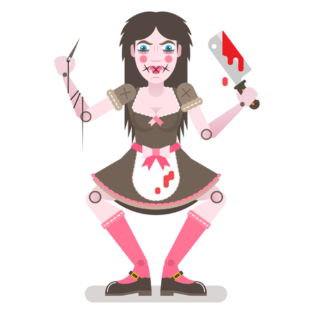 Scary doll with butcher knife icon.