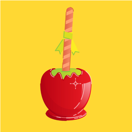 Red sweet candy apple with striped stick and small ribbon
