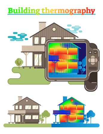 Gebäude Thermografie Illustration Vektorgrafik