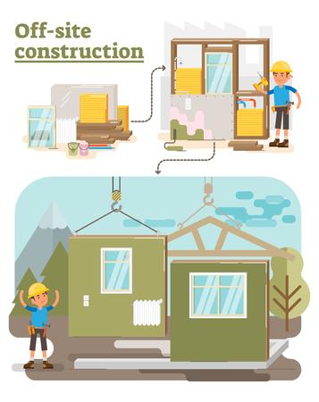Modular Off Site Construction process vector illustration
