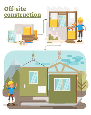 Modular Off Site Construction process vector illustration