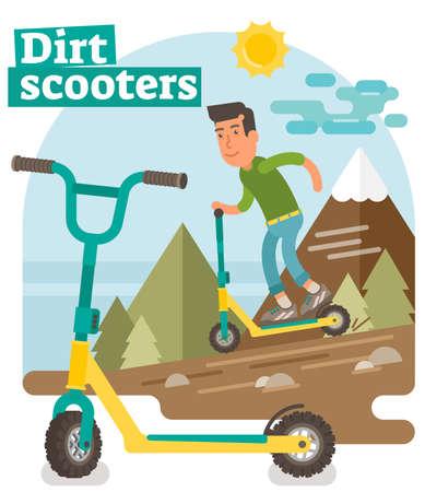 Dirt Scooter illustration vector illustration. Illustration