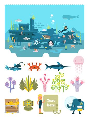 Life below water illustrated scene set vector illustration.