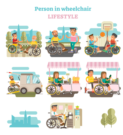 Wheelchair person lifestyle vector illustration collection with various life situations.