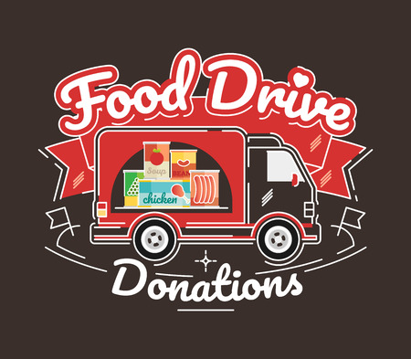 Food Drive non perishable food charity movement, vector badge logo illustration