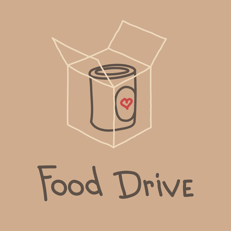 Food Drive non perishable food charity movement, vector badge logo illustration 免版税图像 - 93650193